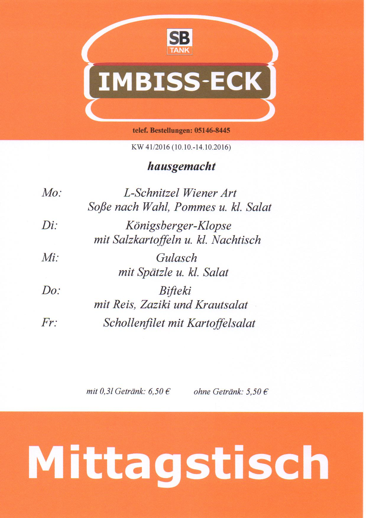 Mittagstisch  SB TANK  Wietze, Celle, Bad Nenndorf